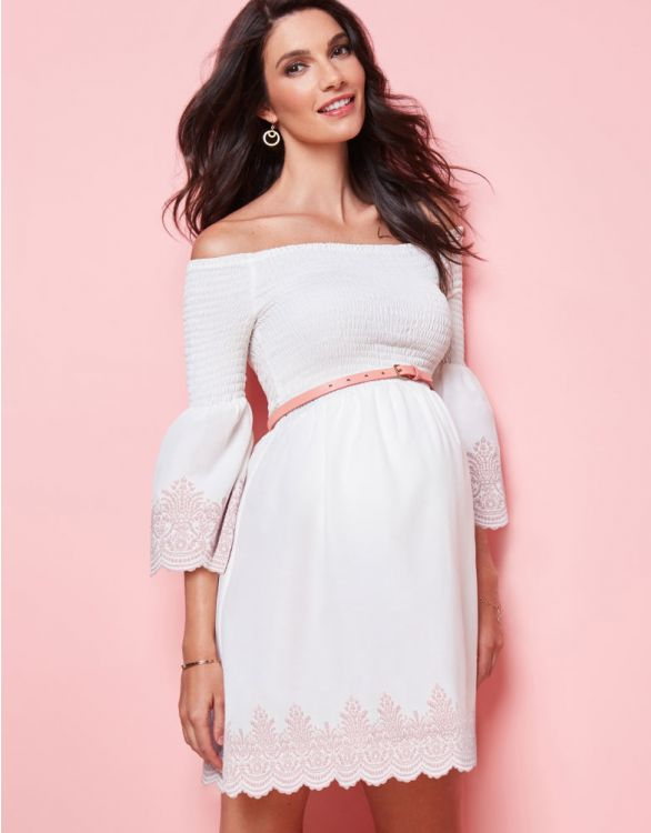 Image for White Embroidered Off the Shoulder Maternity Dress