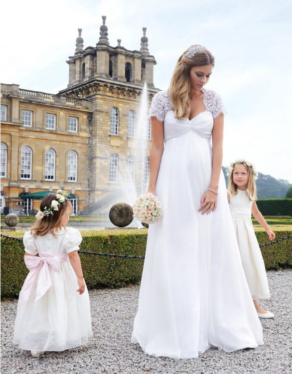 Image for Ivory Silk & Lace Maternity Wedding Gown