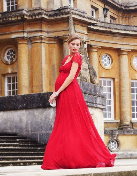 Image for Scarlet Silk & Lace Maternity Evening Gown