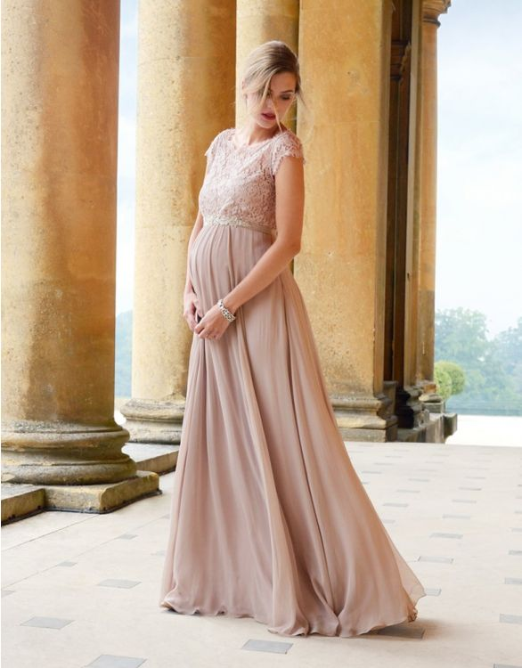 Image for Blush Silk & Eyelash Lace Maternity Gown