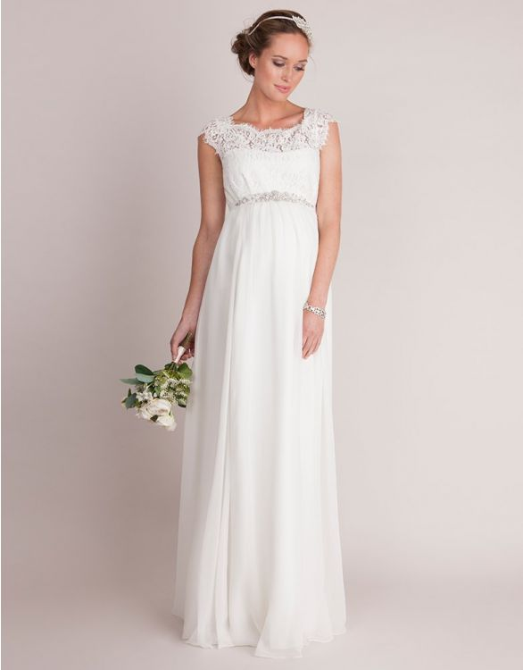 Image for Ivory Silk & Eyelash Lace Maternity Wedding Dress