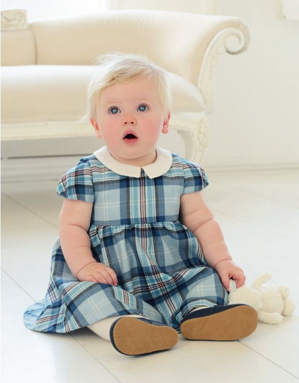 Image for Blue Tartan Woollen Baby Dress