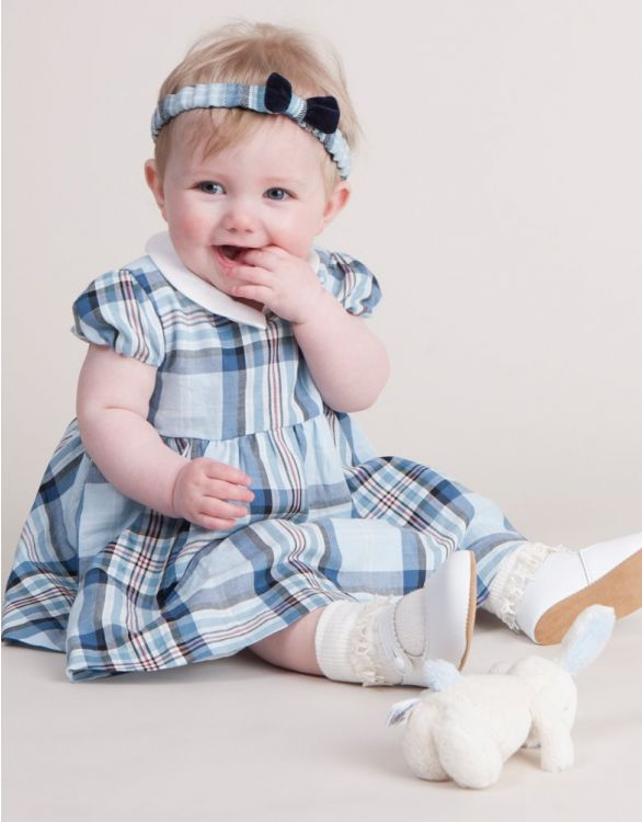Image for Blue Tartan Cotton Baby Dress