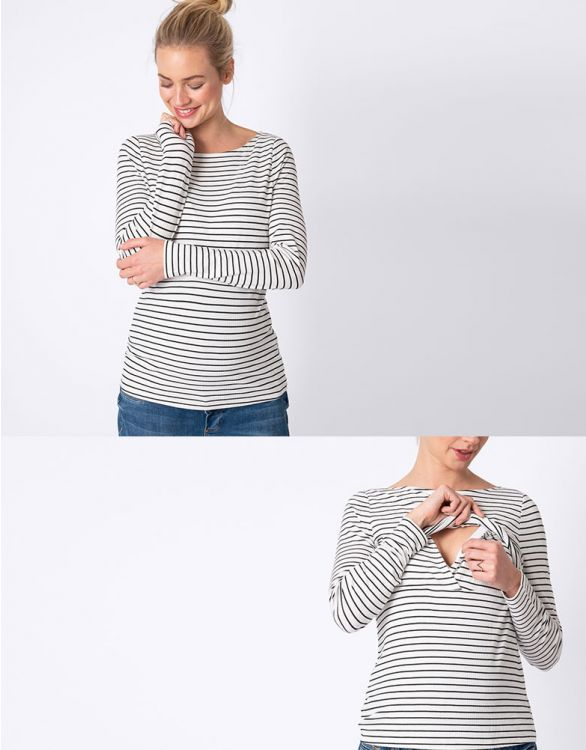 Image for Striped Maternity & Nursing Top