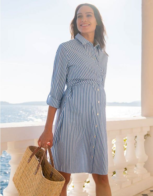 Image for Cotton & Tencel Maternity & Nursing Shirt Dress