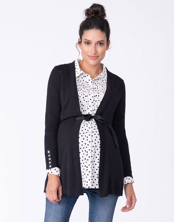 Image for Black Maternity Cardigan with Empire Belt