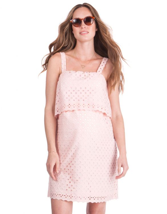 Image for Broderie Anglaise Maternity & Nursing Dress