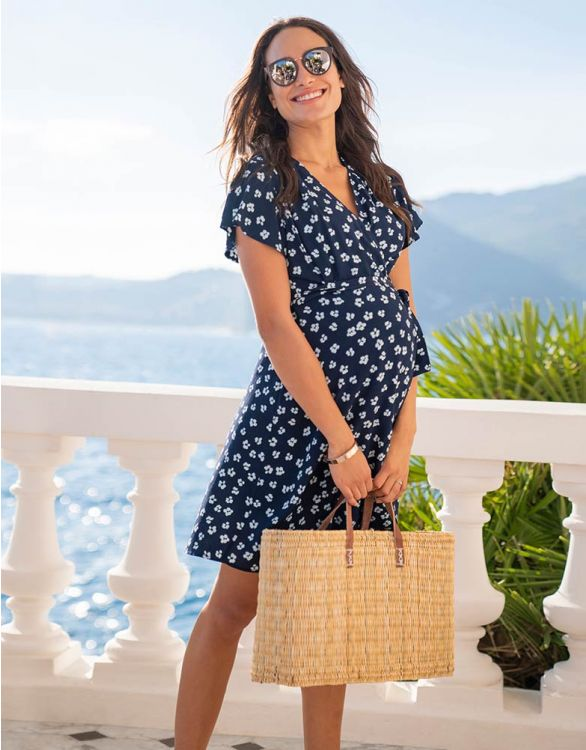 Image for Navy Floral Wrap Maternity Dress
