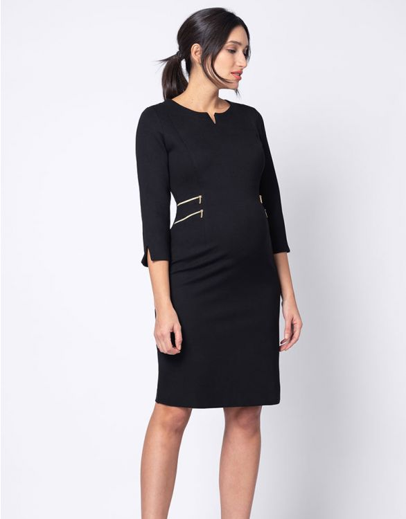 Image for Black Zip Detail Maternity Dress