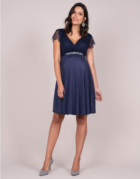 Imagen de Vestido de fiesta premamá con cinturón de pedrería - Azul marino