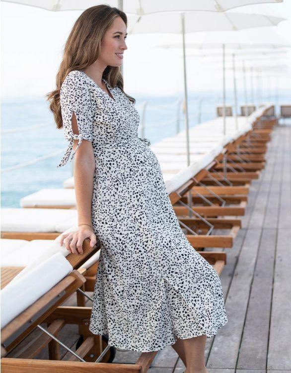 Image for Monochrome Midi Wrap Maternity Dress