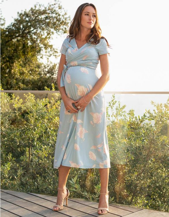 Image for Blue Floral Midi Maternity & Nursing Dress