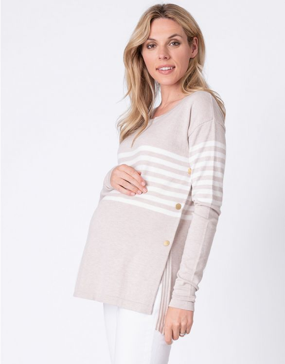 Image for Oatmeal Cotton Blend Maternity & Nursing Jumper