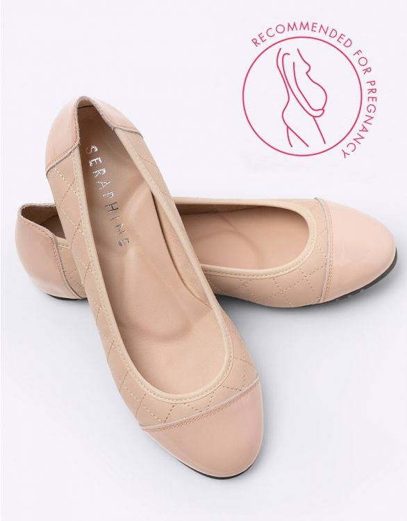 Image for Nude Quilted Ballet Pumps