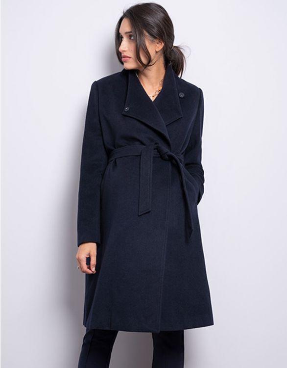 Image pour Manteau grossesse en laine bleu marine