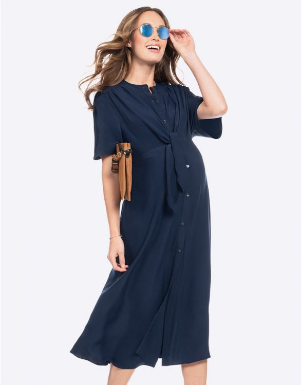 Image for Navy Blue Button Down Midi Maternity Dress