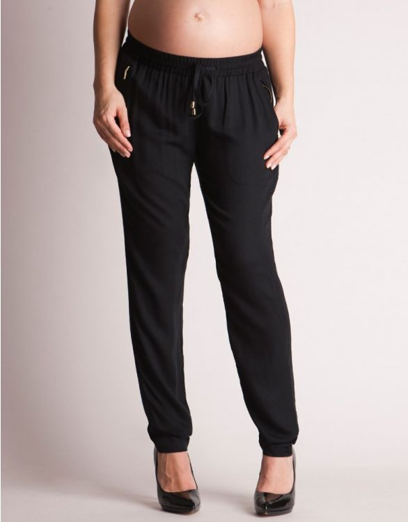 Image for Black Summer Maternity Trousers