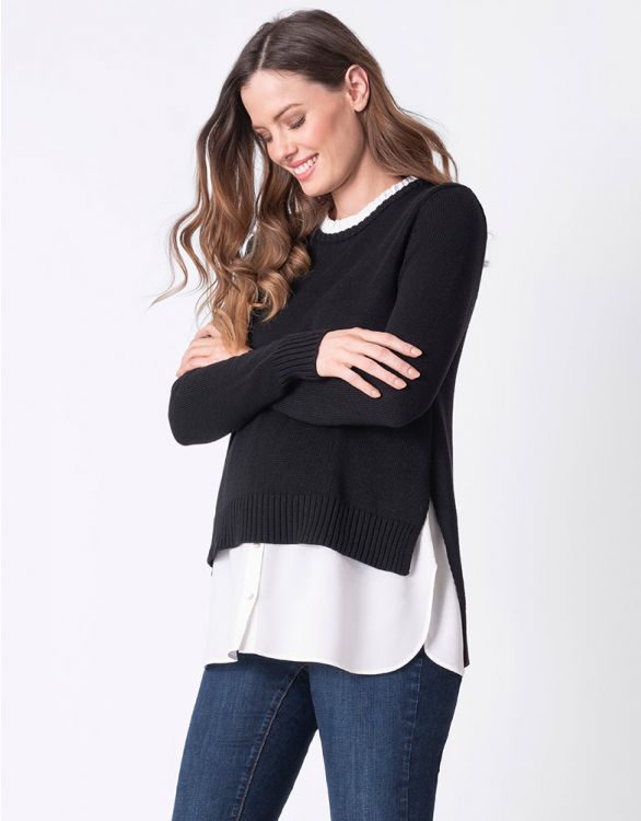 Image for Maternity & Nursing Jumper with Mock Shirt