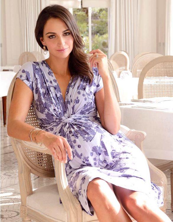Bild für Umstandskleid mit geknoteter Empire Taille und Lavendelblütendruck