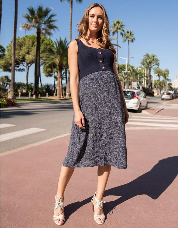 Image for Double Layer Navy Maternity & Nursing Dress