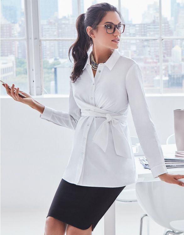 Image for White Stretch Cotton Maternity Shirt