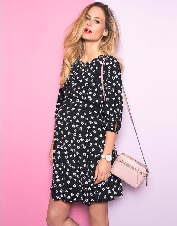 Imagen de Vestido lactancia premamá con estampado floral - Negro