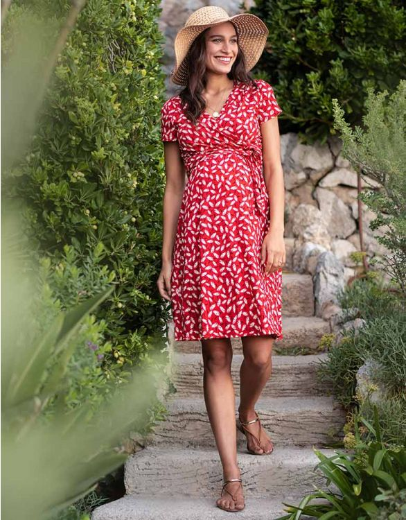 Image for Red Floral Maternity & Nursing Dress