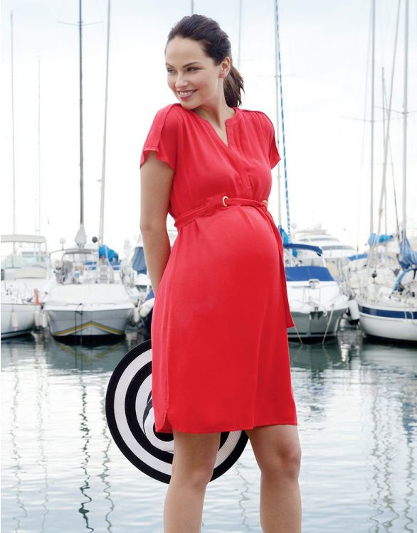 Image for Coral Woven Maternity Dress
