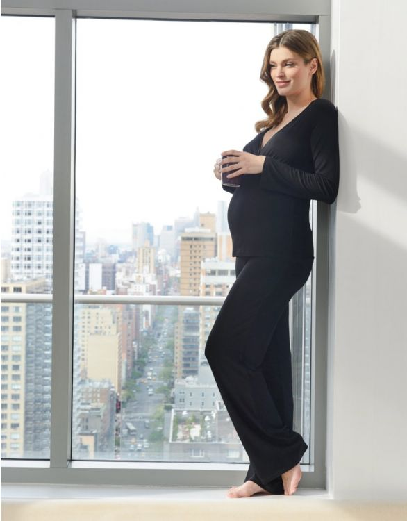 Image for Black Bamboo Lounge Maternity Pyjamas