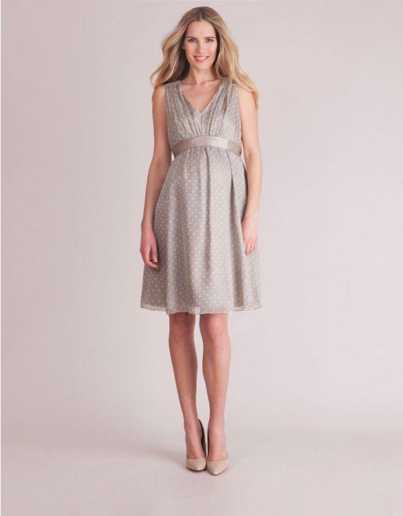 Image for Champagne Polka Dot Silk  Maternity Dress