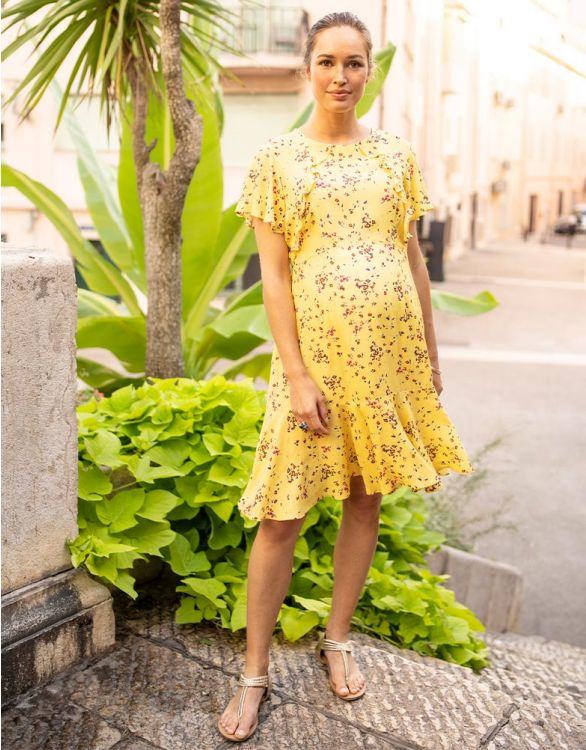 Image for Yellow Frill Maternity & Nursing Dress