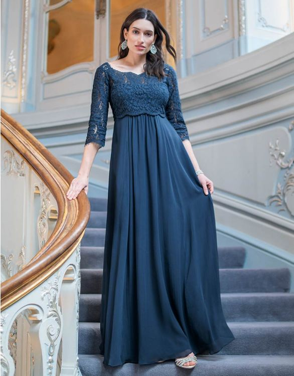 Image for Teal Lace Maternity & Nursing Gown