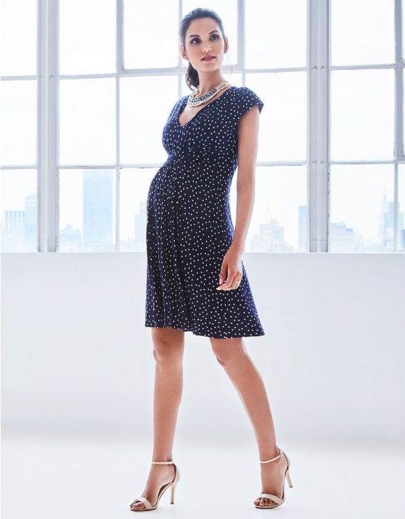 Image for Navy Dot Empire Detail Maternity Dress