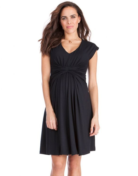 Image for Empire Detail Black Maternity Dress