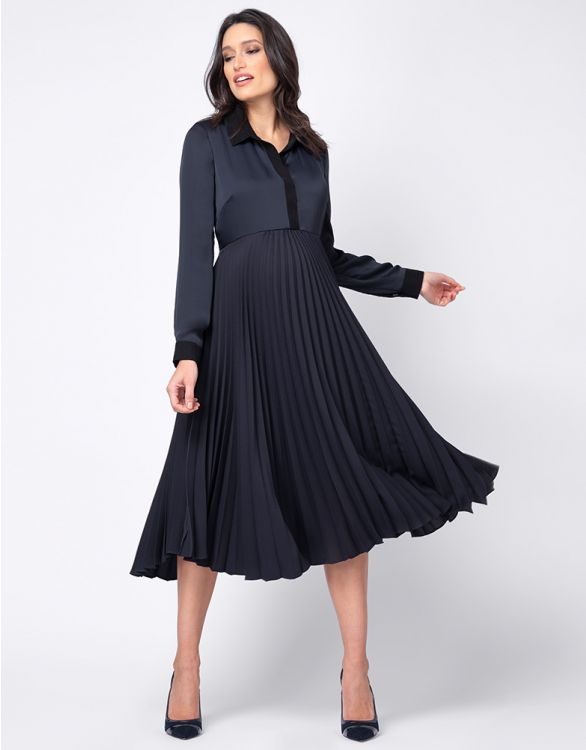 Image for Pleated Maternity & Nursing Midi Dress