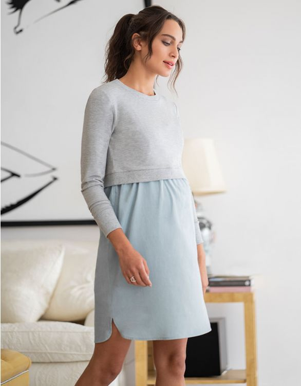 Image for Mock Sweater Chambray Maternity & Nursing Dress