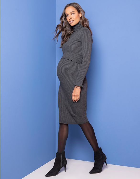 Image pour Robe midi grossesse et allaitement maille côtelée