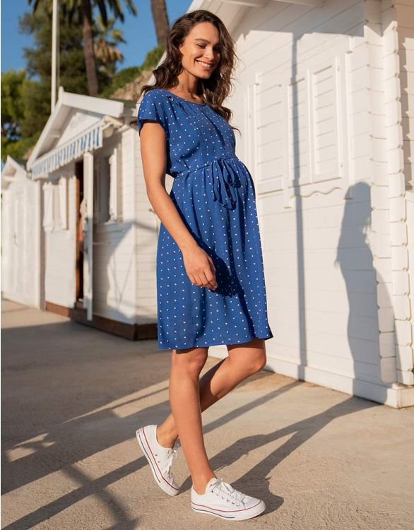 Image for Royal Blue Dot Maternity & Nursing Dress