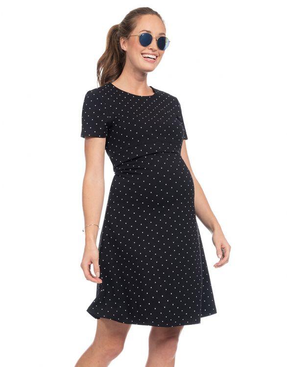 Image for Short Sleeve Dot Maternity & Nursing Dress