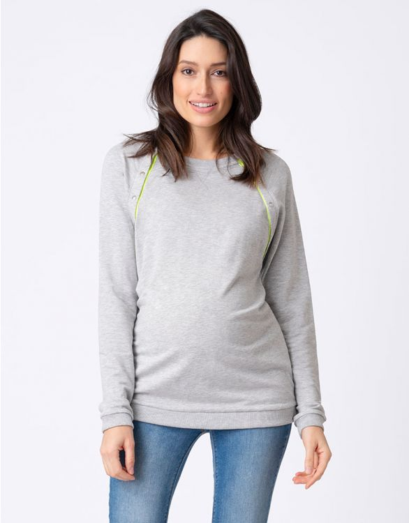 Image for Neon Detail Maternity & Nursing Sweater