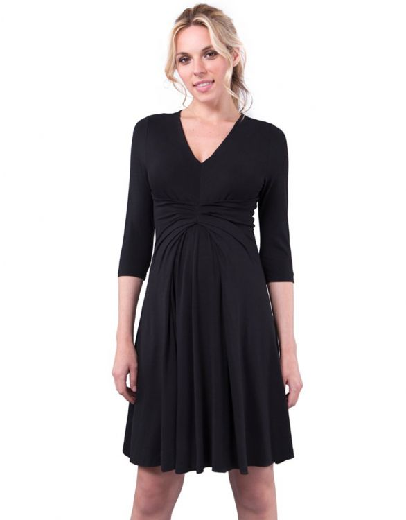 Image for 3/4 Sleeve Empire Detail Black Maternity Dress