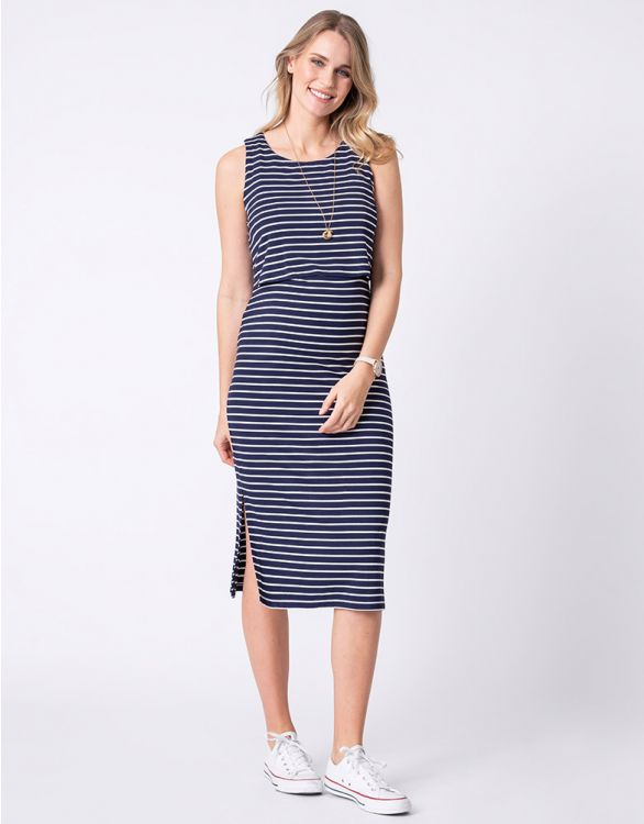 Image for Navy Stripe Maternity & Nursing Midi Dress