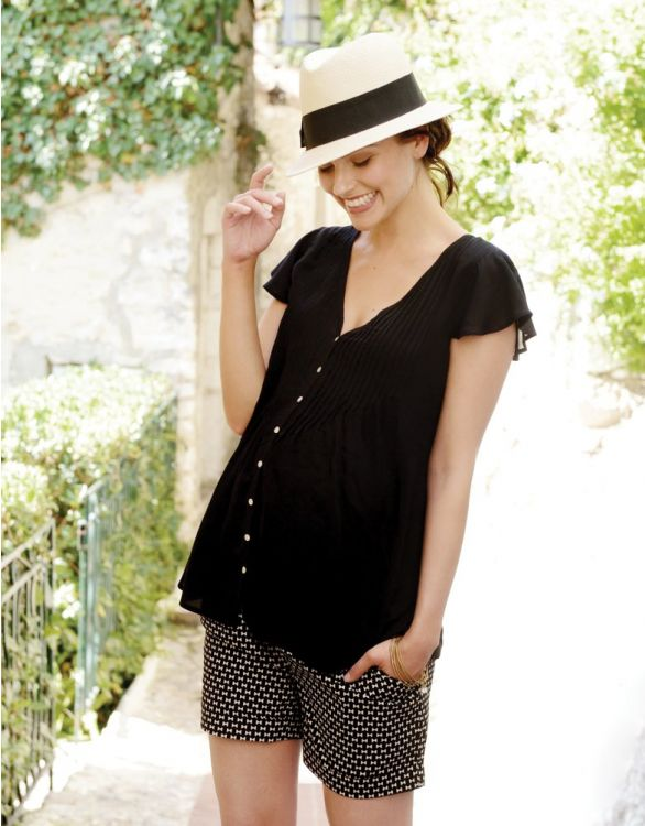Image for Black Flutter Sleeve Maternity Blouse