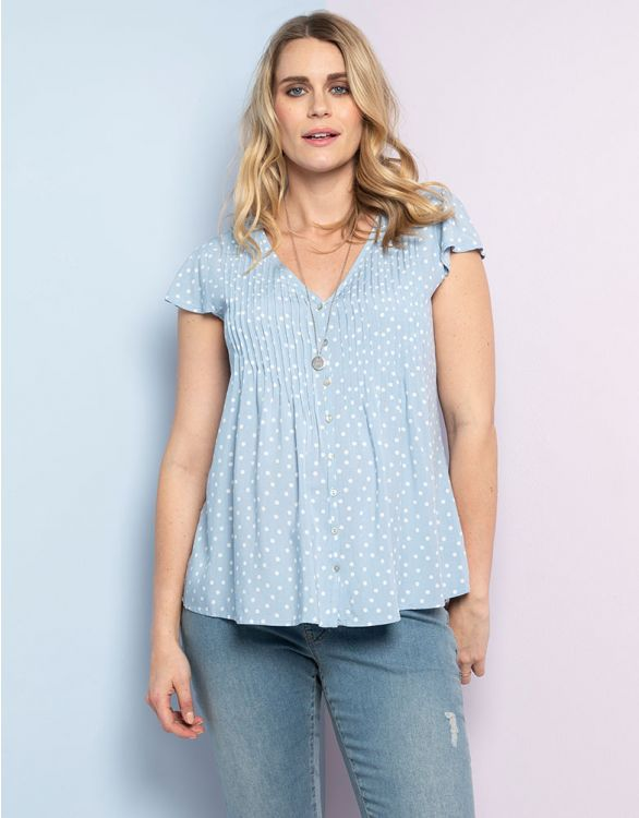 Image for Blue Dot Flutter Sleeve Maternity Blouse
