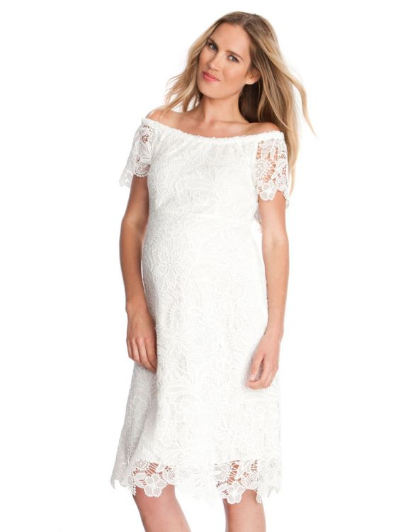 Image for White Off The Shoulder Lace Maternity Dress