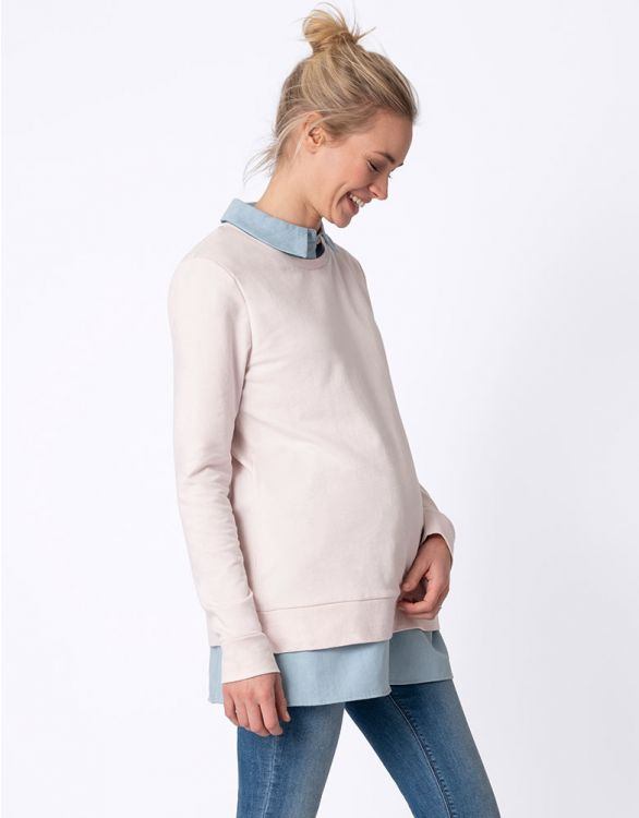 Image for Pink & Blue Layered Maternity & Nursing Top