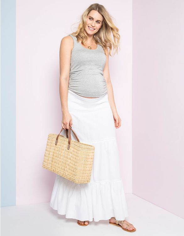 Image for White Maternity Maxi Skirt