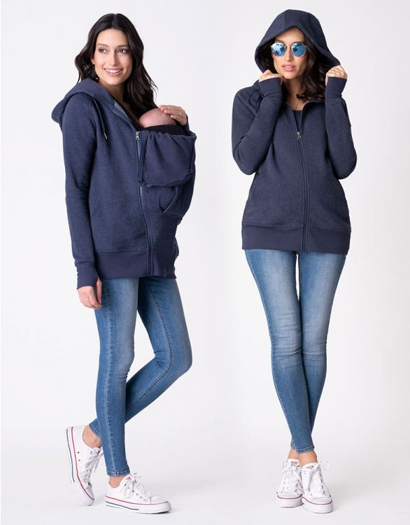 Image for Cotton Blend Navy Blue 3 in 1 Maternity Hoodie
