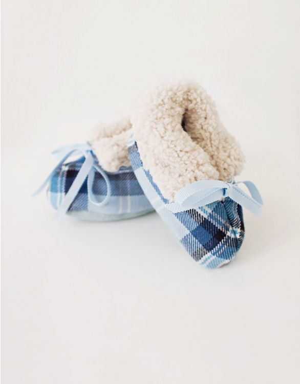 Image for Blue Tartan Fleece Lined Baby Booties