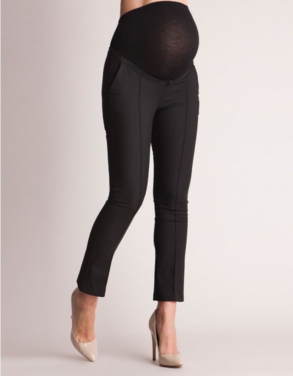 Image for Tailored Black Cropped Maternity Trousers